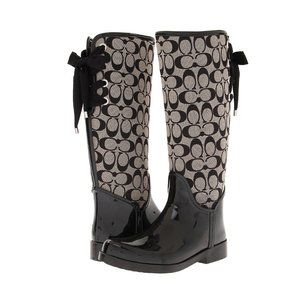 Coach Shoes - Coach Signature Tristee Rainboots Size 9 Tie Back